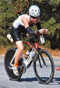 Picture of Triathlete Nancy Richmond on bike