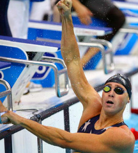 BEIJING - AUGUST 11: Jason Lezak of the United States celebrates finishing the Men's 4 x 100m Freestyle Relay Final in first place and wins the gold medal held at the National Aquatics Center on Day 3 of the Beijing 2008 Olympic Games on August 11, 2008 in Beijing, China.  (Photo by Adam Pretty/Getty Images)